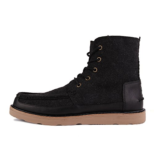 Toms Searcher Boots Black Herringbone Leather 10009176 Mens 9 oPPHKt