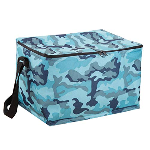 Pausseo Camouflage Thickening Portable Thermal Insulated Lunch Box Basket Tote Insulated Cold Stripe Packet Picnic Carry Case Students Kids Food Storage Bag Pouch Container for Work School (A) ()