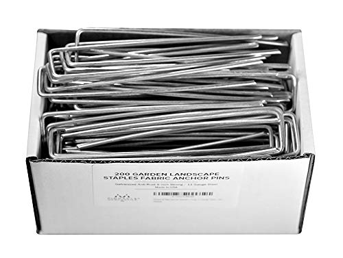 Pinnacle Mercantile 200 ct Galvanized Garden Landscape Staples Stakes Fabric Anchor Pins Anti Rust 6 inch Strong 11 Gauge Steel USA ...