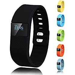 Activity Tracker,Gajozon Fitness Tracker Smart Watch Smart Band Wireless Bluetooth Sleep Monitor Wristband Running Pedometer Exercise for Android 4.3 IOS 7.0 (Black)