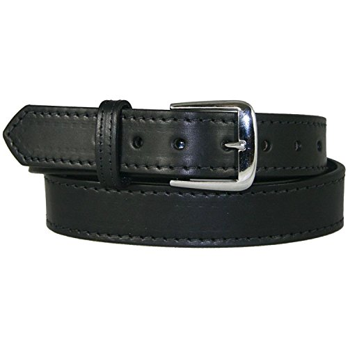 Men's Black Leather Belt With Stitched Edge - 1.5