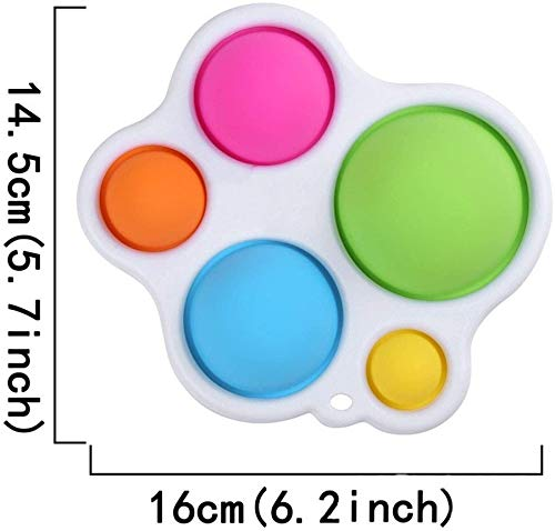BTOOP Simple Dimple Fidget Toy with Keychain Silicone Senses Toys for Adults Kids Stress Relief Decompression Toy Green Dinosaur+ Pink Unicorn +Purple Unicorn