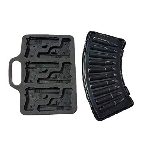 BargainRollBack OTHER Combo 2 AK47 Bullet + 1 x Pistol Gun Ice Cube Chocolate Soap Tray Mold Party Maker (Ships from USA)