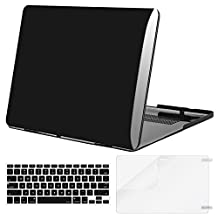 Mosiso Plastic Hard Case with Keyboard Cover with Screen Protector for Macbook Pro Retina 15 Inch (Model: A1398) No CD-ROM, Jet Black