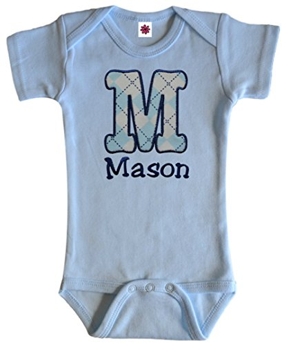 Personalized Embroidered Argyle Initial Onesie Bodysuit for Baby Boys -