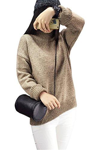 unita collo Pullover Manica lunga elasticit Cotone alto Semplice Poliestere Autunno Tinta donna A Da Casual Haroty spessore Medio YqCfFwq