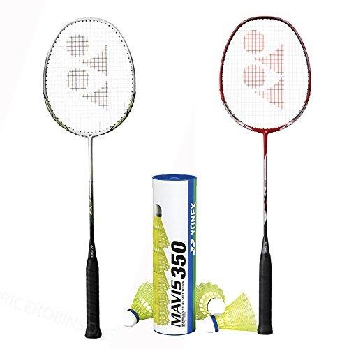 Yonex 2 Nanoray 20 with Mavis 350 Yellow Medium Shuttle Badminton Combo Set
