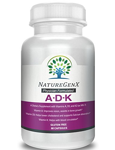 NatureGenx - A.D.K - ADK Vitamins |A 5,000 IU | D3 5,000 IU |K2 (as MK-7) 500mcg) | Support Bone Structure |Physician Formulated |Gluten Free | Non-GMO |60 Capsules| 2 Months Supply