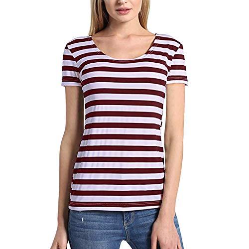 (Answerl Women's Classic-Fit Short-Sleeve Crewneck T-Shirt Stripe Print Basic Tunic Tops Blouse Shirts Red )
