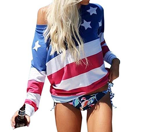 T Tee Femmes Manches Printemps Imprime toile Automne et OUFour Tops Blouse Shirts Hauts Fashion Longues Bleu2 Sweat Oblique paule Jumper Patchwork Shirts 7xItq7