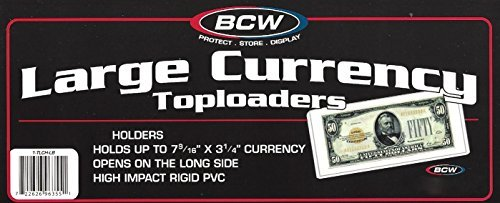 - 10 Ct. BCW Top Load Currency Rigid Holders TLCH-LB for Large Bills Plus 10 Large Bill Sleeves by BCW