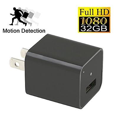 YYCAMUS 1080P HD USB Wall Charger Hidden Spy Camera / Nanny Spy Camera Adapter | 32GB Internal Memory
