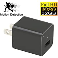 YYCAMUS 1080P HD USB Wall Charger Hidden Spy Camera / Nanny Spy Camera Adapter | 32GB Internal Memory