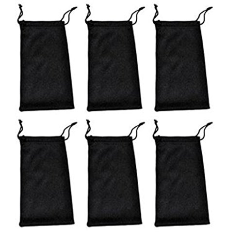 6 PCS Sunglasses Glasses Pouches Case Bag Black