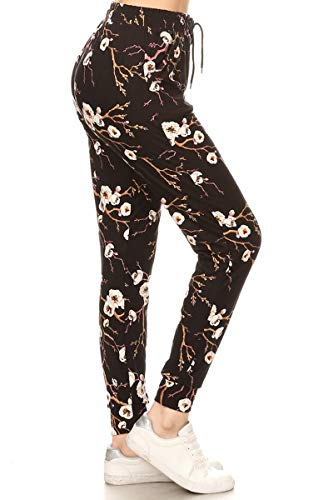 - Leggings Depot JGA-R581-XL Cherry Blossom Print Jogger Track Pants w/Pockets, X-Large