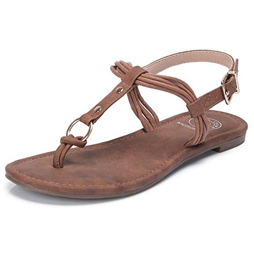 (CAMEL CROWN Women's Flat Sandals Summer T-Strap Thong Sandals Flip Flops with Metal Ring Adjustable Ankle Buckle Shoes for Casual Beach Holiday Brown)
