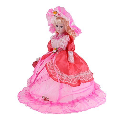 Baoblaze Pretty Victorian Porcelain Doll Splicing Doll Wearing Red Party Dress 18 Inch -