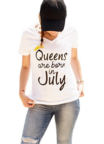 July Womens V-neck T-shirt - LeRage Shirts Queens are Born in July Shirt V-Neck Style by Women's White Medium