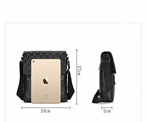 Cowhide Business Shoulder brown Mobile Mezzan Red Messenger Leather Zipper Bags Square First Vertical Phone Bag Men's Bags Casual Id Layer Fashion Genuine Leather d7wq5d