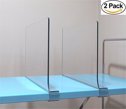 """[2 Pack] Acrylic Shelf Divider By Simba Displays™ Fits 3/4' Shelves, 12"""" Length, 8"""" Height Unbreakable PETG Organizing Clothes, Books, Kitchen Pantry, Business & Home Organization, Durable"""