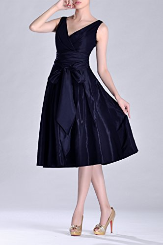 Bridesmaid Taffeta neck Tea Length Formal V Marineblau Modest bridesmaids A Pleated Dress line w0HqxvFqn1
