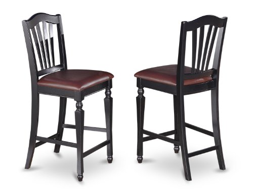 East West Furniture CHS-BLK-LC Stool Set with Faux Leather Upholstered Seat, Set of 2 ()