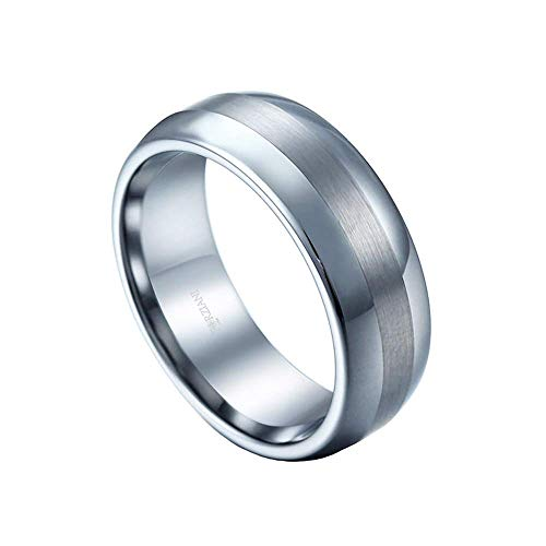 FORZIANI Solid Tungsten Band Ring for Men - 6mm Wedding Band Men's Ring with Beveled Edges in an Elegant Brushed Finish - Size 11 - Gift for Men