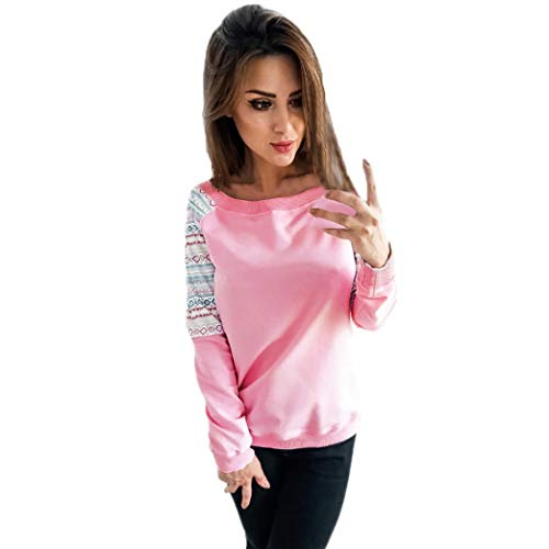 - Kulywon Womens Long Sleeve Retro Geometry Print Sweatshirt Pullover Tops Blouse