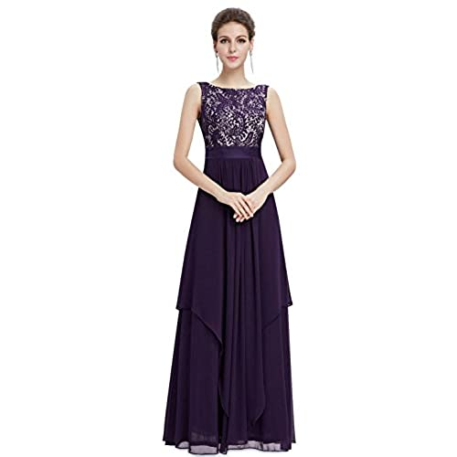 Ever-Pretty Juniors Lace Chiffon Sleeveless Long Prom Dress 8 US Purple
