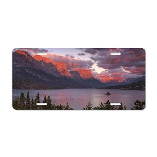 FloralFlames Sunrise On Saint Marys Lake in Montana Custom License Plate, Novelty Front License Plate Holder Durable Metal Sign Car Tag 6