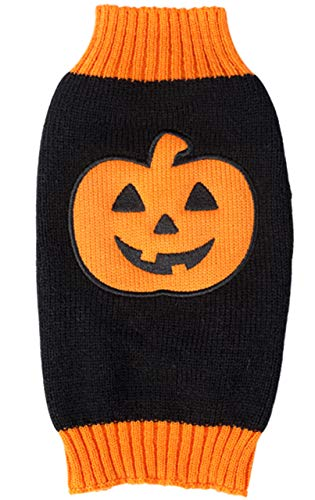 BOBIBI Pet Clothes The Halloween Pumpkin Cat Dog Sweater, Dog Knitwear, Dog Apparel, Pet Sweatshirt Small