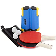 Retractable Anywhere Table Tennis Set with 2 Paddles & 3 Balls and a Mesh Storage Bag (Available in 4 Colors) by GSE