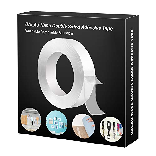 Double Sided Tape Heavy Duty - UALAU Traceless Removable Washable Nano Gel Grip Tape, Clear Sticky Adhesive Mounting Tape for Home/Office/Car Decor, Fix Carpet Mats(16.5ft)