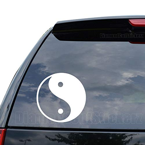 Ying Yang Tao Zen Symbol Decal Sticker Car Truck Motorcycle Window Ipad Laptop Wall Decor - Size (11 inch / 28 cm Tall) - Color (Matte White) (Computer Stickers Ying Yang)