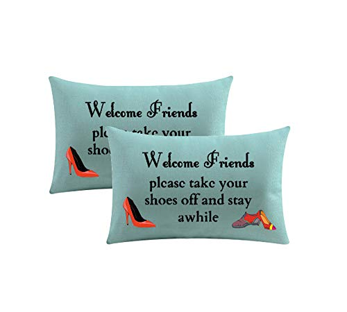 (GAWEKIQE Set of 2 Welcome Friends Place Take Your Shoes Off and Stay Awhile Cotton Linen Throw Pillow Cover Cushion Case Holiday Rectangle 12