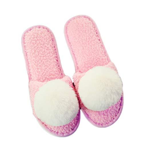 Light 38 Modelle Dicke größe 39EU Mit Weibliche Tasche Baumwolle Nette Warme Unterseite AMINSHAP Cartoon Hausschuhe Startseite pink Farbe Hausschuhe Paar Plüsch Rutschfeste gvwqXTFR
