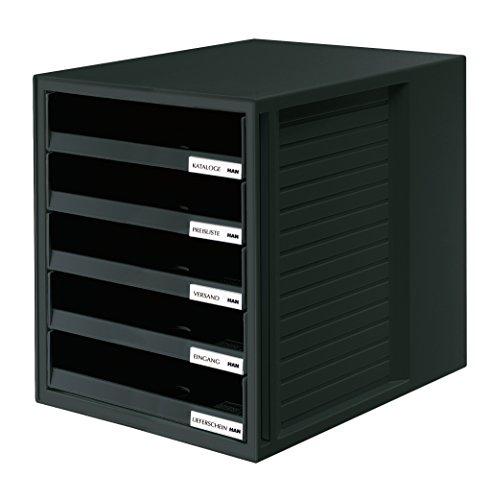HAN 1401-13, Schubladenbox SCHRANK-SET, Innovatives, attraktives Design mit 5 offenen Schubladen, schwarz