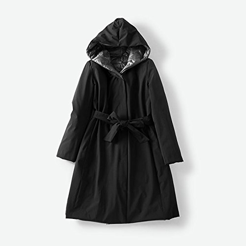 Cashmere Sides To Color Of Long Jacket Two Wear Sleeved Ski Suit Waist Xuanku Both On Down Black High Full Belt Hooded FEYqnX