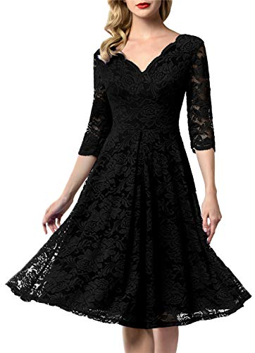AONOUR 0056 Women's Vintage Floral Lace Bridesmaid Dress 3/4 Sleeve Wedding Party Midi Dress Black S