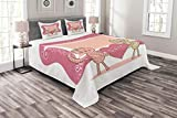 Lunarable Animals Bedspread Set Queen Size, Love Card with Cat Sweet Couple Marriage Celebration Valentine Cartoon, Decorative Quilted 3 Piece Coverlet Set with 2 Pillow Shams, Pale Pink Peach White