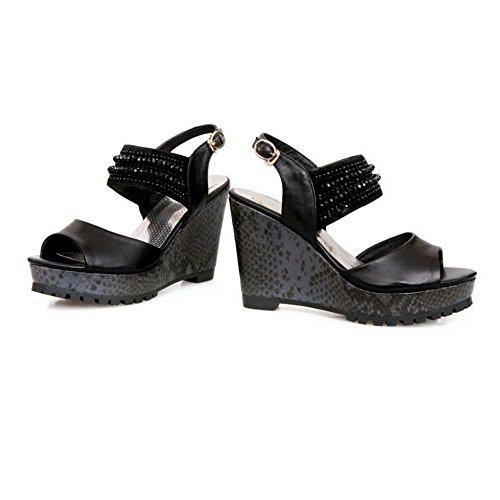 1TO9 Womens Snake Skin Peep-Toe Black Cow Leather Sandals - 7.5 B(M) US YnYRN