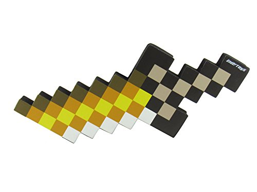 EnderToys Foam Gold Dagger Toy Weapon, Pixelated Blade, 10 -
