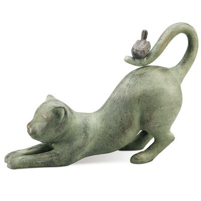 SPI Home 33431 Crouching Cat with Bird Sculpture