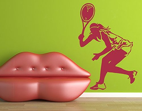 Wall Decal Tennis Player II, Color: Aubergine, 58.3x39.4 by PPS. Imaging GmbH (Image #4)