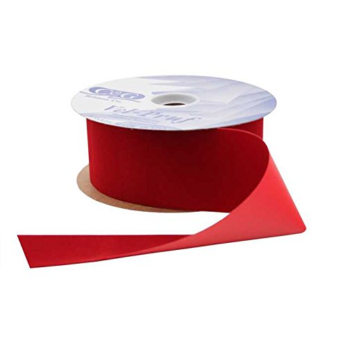 (Berwick VEL-040-100-HOL Offray C&G Vel-Pruf Velvet Ribbon, Holiday Red)