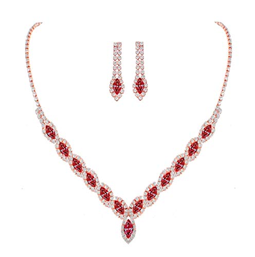 YSOUL Sparkling CZ Rhinestone Necklace Earrings Jewelry Set for Bridal Bridesmaid Wedding Evening Party Prom (Red)