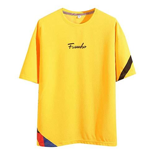 (TANGSen Men's Fashion Printed Tops Summer Fashion Short Sleeves Simple Comfortable Casual Loose Blouse Yellow)