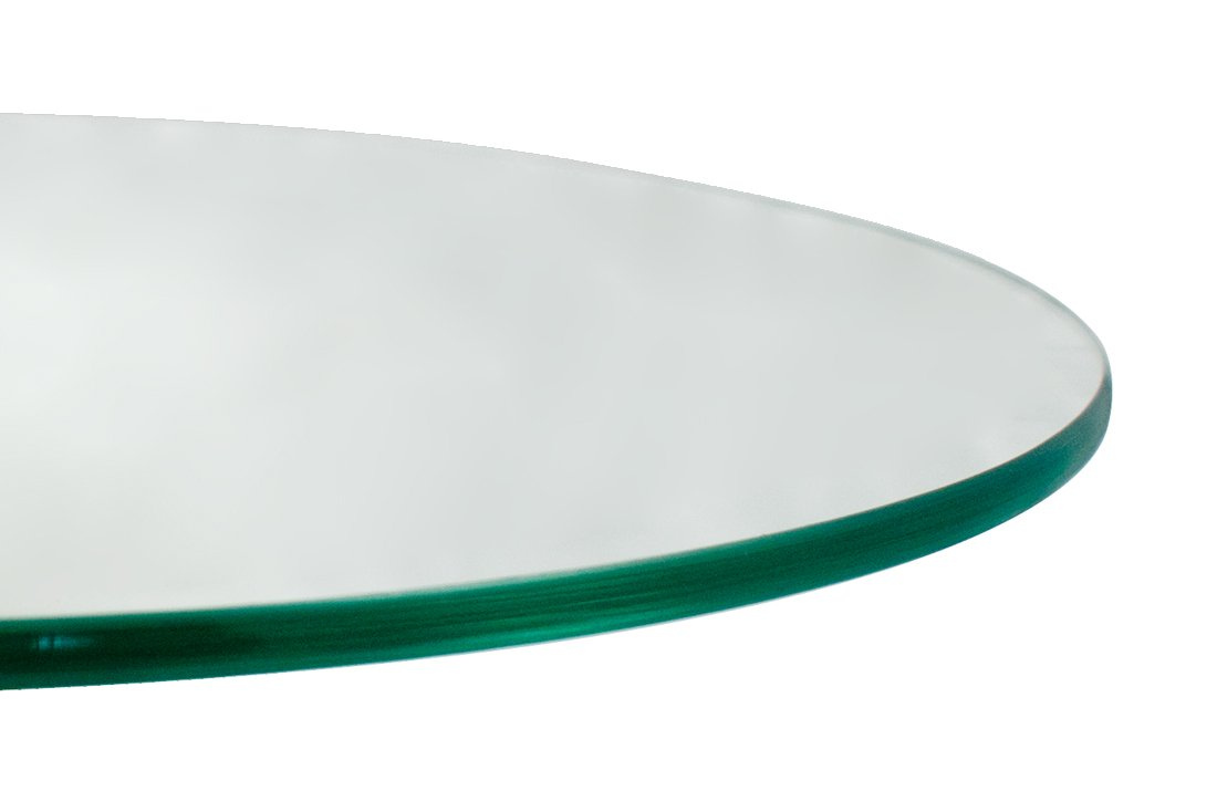 TroySys Round Glass Table Top, 1/4'' Thick, Flat Polish Edge, Tempered Glass, 60'' L x 60'' W