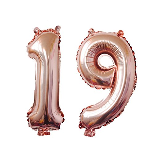 TOYMYTOY 40 Inch Rose Gold 19 Number Balloon,Jumbo