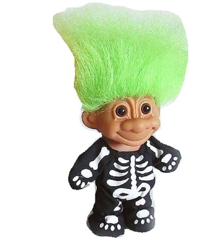Amazon Com Russ Troll Skeleton With Green Hair Toys Games